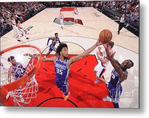 Nba Pro Basketball Metal Print featuring the photograph Sacramento Kings V Portland Trail by Sam Forencich