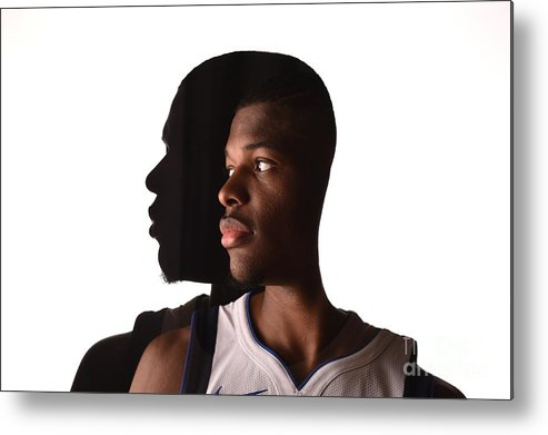 Looking Over Shoulder Metal Print featuring the photograph 2017 Nba Rookie Photo Shoot by Brian Babineau