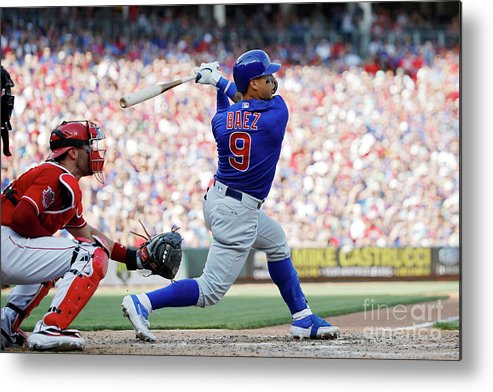 Great American Ball Park Metal Print featuring the photograph Chicago Cubs V Cincinnati Reds by Joe Robbins