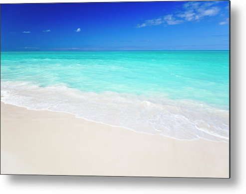 Water's Edge Metal Print featuring the photograph Clean White Caribbean Beach With Blue by Michaelutech
