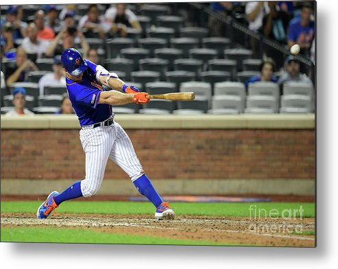 People Metal Print featuring the photograph Miami Marlins V New York Mets - Game Two by Steven Ryan