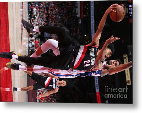 Nba Pro Basketball Metal Print featuring the photograph Philadelphia 76ers V Portland Trail by Sam Forencich