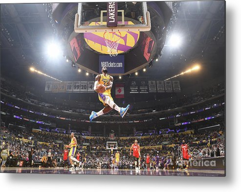 Nba Pro Basketball Metal Print featuring the photograph Lebron James Double-Clutch Reverse Dunk Tribute to Kobe Bryant by Andrew D. Bernstein