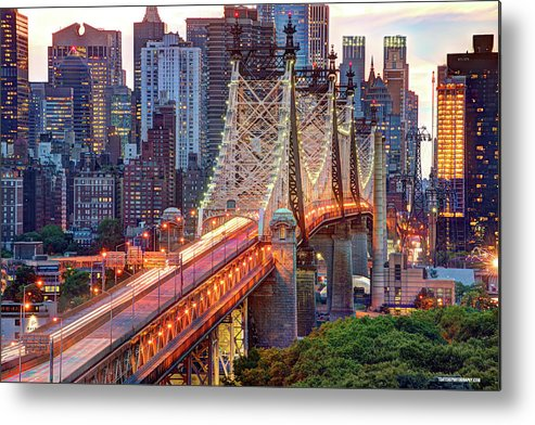 Architectural Column Metal Print featuring the photograph 59th Street Bridge by Tony Shi Photography