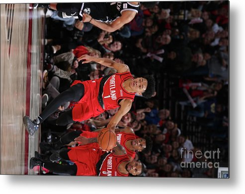 Nba Pro Basketball Metal Print featuring the photograph Brooklyn Nets V Portland Trail Blazers by Sam Forencich