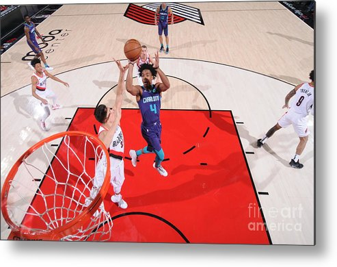 Nba Pro Basketball Metal Print featuring the photograph Charlotte Hornets V Portland Trail by Sam Forencich