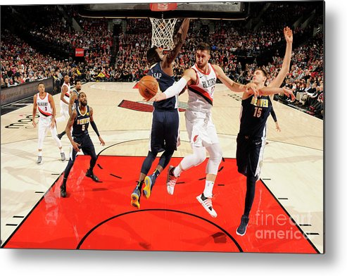 Jusuf Nurkić Metal Print featuring the photograph Denver Nuggets V Portland Trail Blazers by Cameron Browne