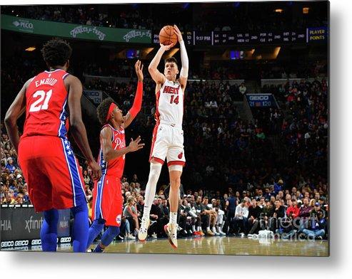 Tyler Herro Metal Print featuring the photograph Miami Heat V Philadelphia 76ers by Jesse D. Garrabrant