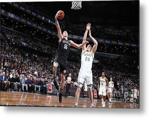 Nba Pro Basketball Metal Print featuring the photograph Milwaukee Bucks V Brooklyn Nets by Nathaniel S. Butler