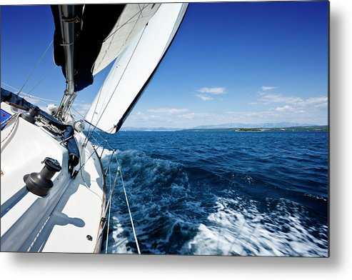 Curve Metal Print featuring the photograph Sailing In The Wind With Sailboat by Mbbirdy