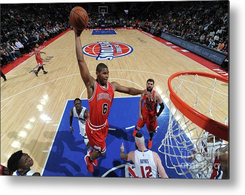 Nba Pro Basketball Metal Print featuring the photograph Chicago Bulls V Detroit Pistons by Chris Schwegler