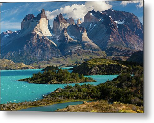 Scenics Metal Print featuring the photograph Chile, Torres Del Paine National Park by Walter Bibikow