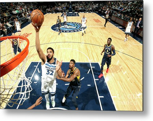 Nba Pro Basketball Metal Print featuring the photograph Indiana Pacers V Minnesota Timberwolves by David Sherman