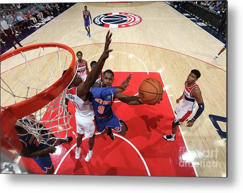 Nba Pro Basketball Metal Print featuring the photograph New York Knicks V Washington Wizards by Ned Dishman