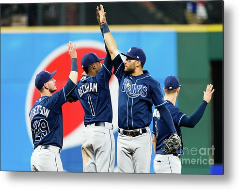 Three Quarter Length Metal Print featuring the photograph Tampa Bay Rays V Cleveland Indians by Jason Miller