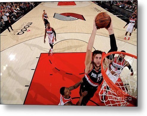 Jusuf Nurkić Metal Print featuring the photograph Washington Wizards V Portland Trail by Cameron Browne
