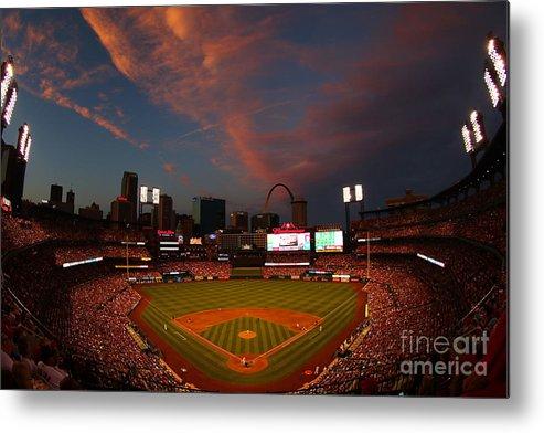 American League Baseball Metal Print featuring the photograph Atlanta Braves V St Louis Cardinals by Dilip Vishwanat