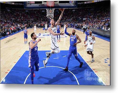Playoffs Metal Print featuring the photograph Brooklyn Nets V Philadelphia 76ers - by Jesse D. Garrabrant