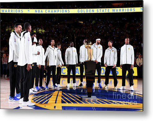 Nba Pro Basketball Metal Print featuring the photograph Houston Rockets V Golden State Warriors by Andrew D. Bernstein