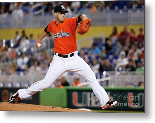 People Metal Print featuring the photograph Los Angeles Dodgers V Miami Marlins by Rob Foldy