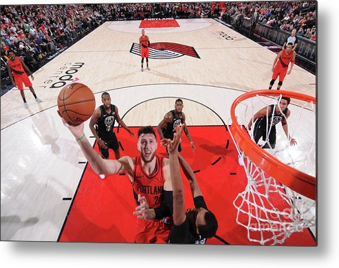 Jusuf Nurkić Metal Print featuring the photograph Milwaukee Bucks V Portland Trail Blazers by Sam Forencich