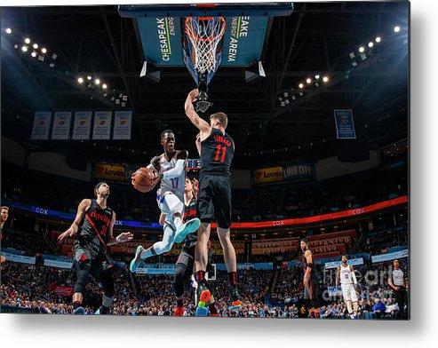 Nba Pro Basketball Metal Print featuring the photograph Portland Trail Blazers V Oklahoma City by Zach Beeker