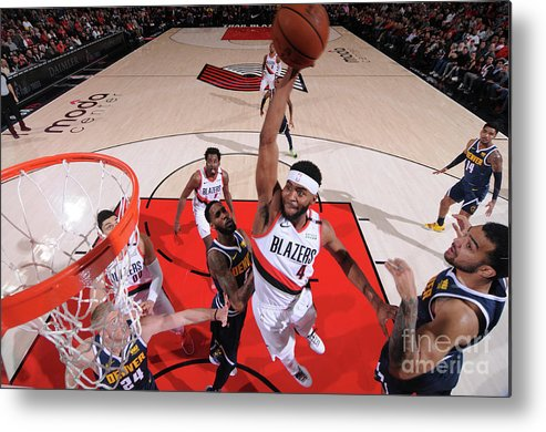 Moe Harkless Metal Print featuring the photograph Denver Nuggets V Portland Trail Blazers by Sam Forencich