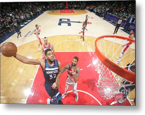 Nba Pro Basketball Metal Print featuring the photograph Minnesota Timberwolves V Washington by Ned Dishman