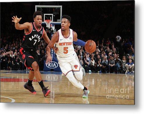 Nba Pro Basketball Metal Print featuring the photograph Toronto Raptors V New York Knicks by Nathaniel S. Butler
