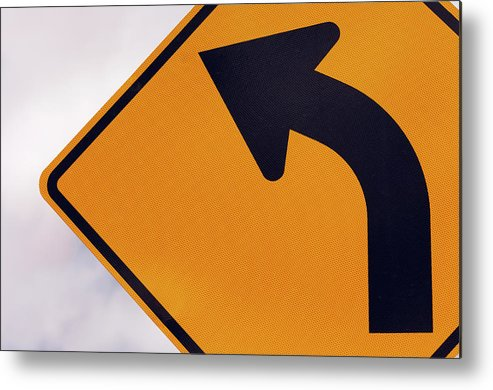 Curve Metal Print featuring the photograph A Curve Ahead Road Sign Warning by Martin Ruegner