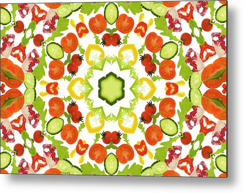 White Background Metal Print featuring the photograph A Kaleidoscope Image Of Salad Vegetables by Andrew Bret Wallis