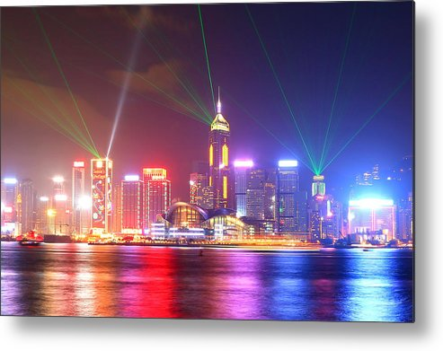 Tranquility Metal Print featuring the photograph A Symphony Of Lights by Liu Wai Yip Even
