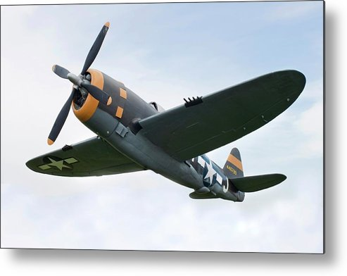 Air Attack Metal Print featuring the photograph Airplane P-47 Thunderbolt From World by Okrad