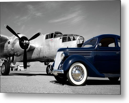Propeller Metal Print featuring the photograph Airplanes And Cars by Sierrarat