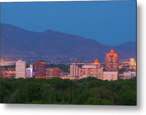 Downtown District Metal Print featuring the photograph Albuquerque Skyline At Dusk by Davel5957