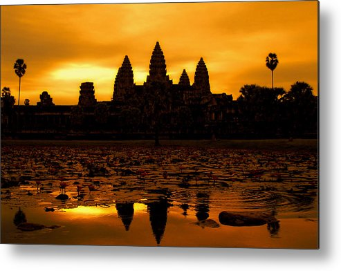 Cambodian Culture Metal Print featuring the photograph Angkor Wat At Sunrise by David Lazar