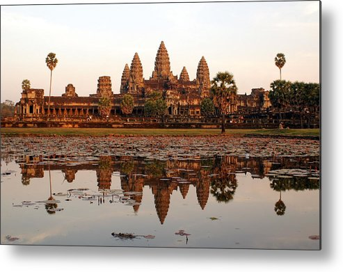 Tranquility Metal Print featuring the photograph Angkor Wat - Siem Reap - Cambodia by By Lionel Arnould