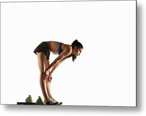 People Metal Print featuring the photograph Athlete Resting At Starting Block by Moof