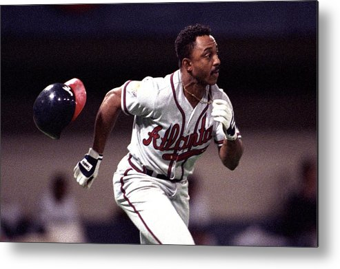American League Baseball Metal Print featuring the photograph Atlanta Braves V Minnesota Twins by Ronald C. Modra/sports Imagery