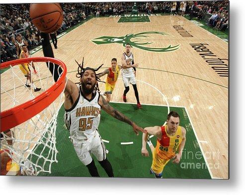 Nba Pro Basketball Metal Print featuring the photograph Atlanta Hawks V Milwaukee Bucks by Gary Dineen