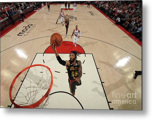 Nba Pro Basketball Metal Print featuring the photograph Atlanta Hawks V Portland Trail Blazers by Cameron Browne