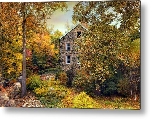 Autumn Metal Print featuring the photograph Autumn Stone Mill by Jessica Jenney