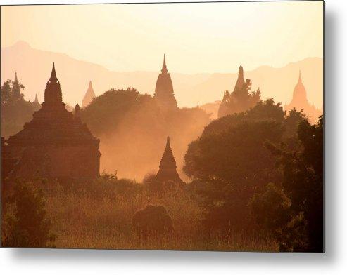 Pagoda Metal Print featuring the photograph Bagan Sunset by Joe & Clair Carnegie / Libyan Soup