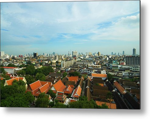 Tropical Tree Metal Print featuring the photograph Bangkok View With Temple Roofs 2 by Sndrk