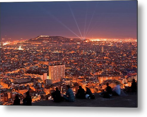 Catalonia Metal Print featuring the photograph Barcelona At Night With People by Artur Debat