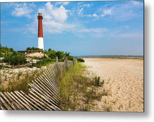 Water's Edge Metal Print featuring the photograph Barnegat Lighthouse, Sand, Beach, Dune by Dszc