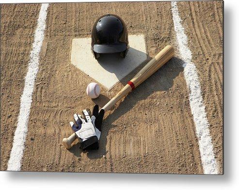Shadow Metal Print featuring the photograph Baseball, Bat, Batting Gloves And by Thomas Northcut