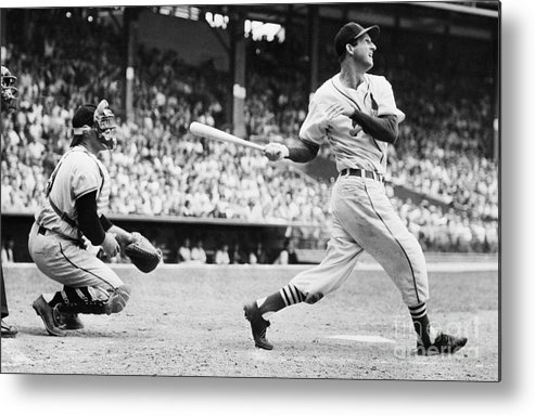 St. Louis Cardinals Metal Print featuring the photograph Batter Stan Musial And Catcher Wes by Bettmann