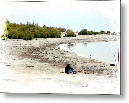 Watercolor Metal Print featuring the photograph Beach Goers-The Salton Sea in Digital Watercolor by Colleen Cornelius