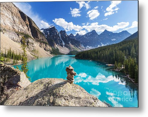Canadian Metal Print featuring the photograph Beautiful Moraine Lake In Banff by Galyna Andrushko